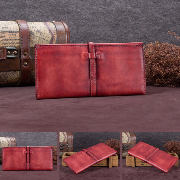 Handmade Leather Long Wallet Clutch Accessories Gift Women red detail