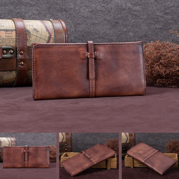 Handmade Leather Long Wallet Clutch Accessories Gift Women slim wallet