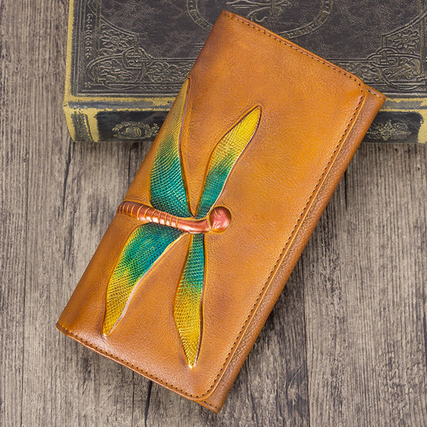 Handmade Leather Long Wallet Purse Clutch Accessories Women Beautiful