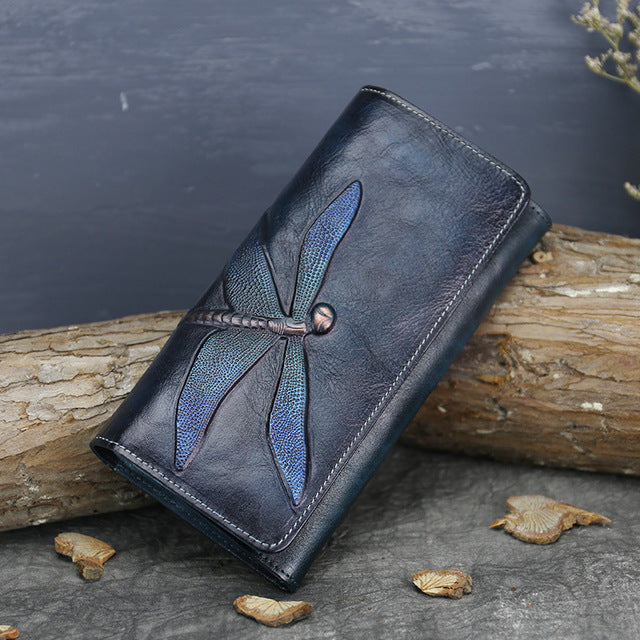 Handmade Leather Long Wallet Purse Clutch Accessories Women Blue