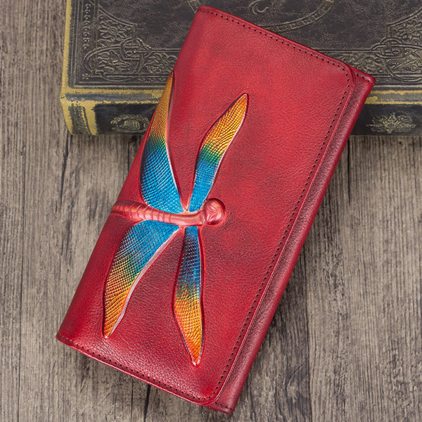Handmade Leather Long Wallet Purse Clutch Accessories Women Cute