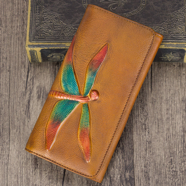 Handmade Leather Long Wallet Purse Clutch Accessories Women Brown
