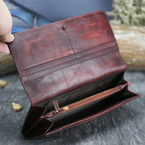 Handmade Leather Long Wallet Purse Clutch Accessories Women Inside