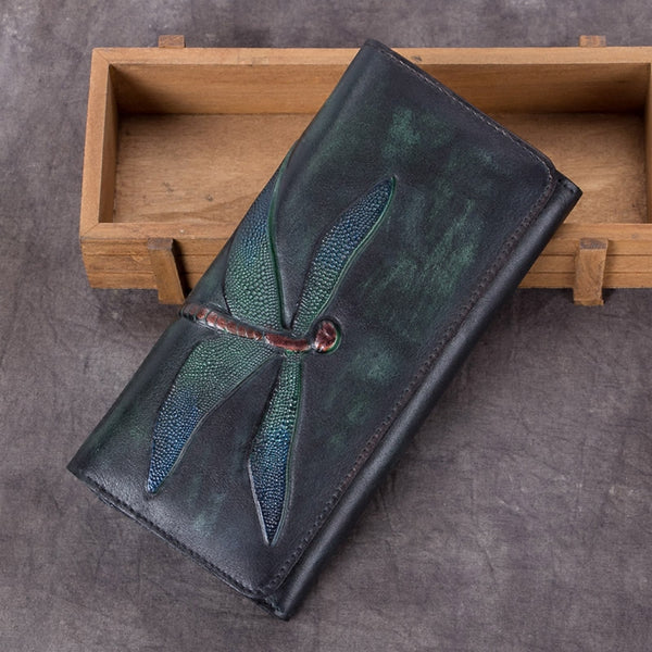 Handmade Leather Long Wallet Purse Clutch Accessories Women green