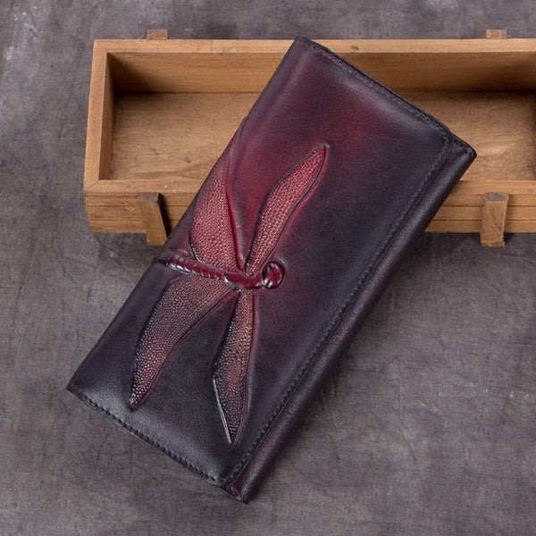Handmade Leather Long Wallet Purse Clutch Accessories Women red