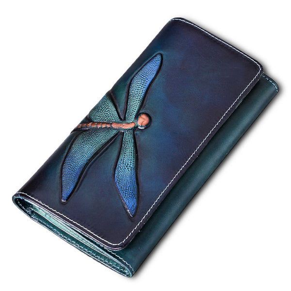 Womens Leather Wallet Purse Dragonfly Pattern Clutch Wallets for Women