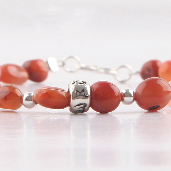 Handmade Red Agate Beaded Bracelets Gemstone Jewelry Accessories for Women adorable