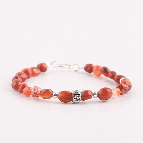 Handmade Red Agate Beaded Bracelets Gemstone Jewelry Accessories for Women