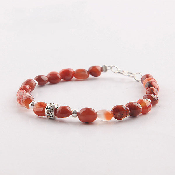 Handmade Red Agate Beaded Bracelets Gemstone Jewelry Accessories for Women cute