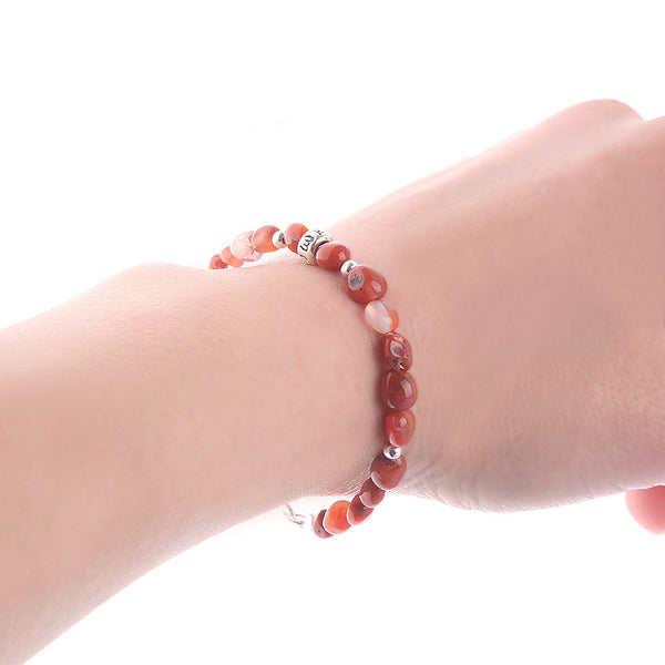 Handmade Red Agate Beaded Bracelets Gemstone Jewelry Accessories for Women elegant