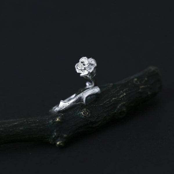 Handmade Rose Shaped Sterling Silver Rings Friendship Rings Accessories Gifts for Women