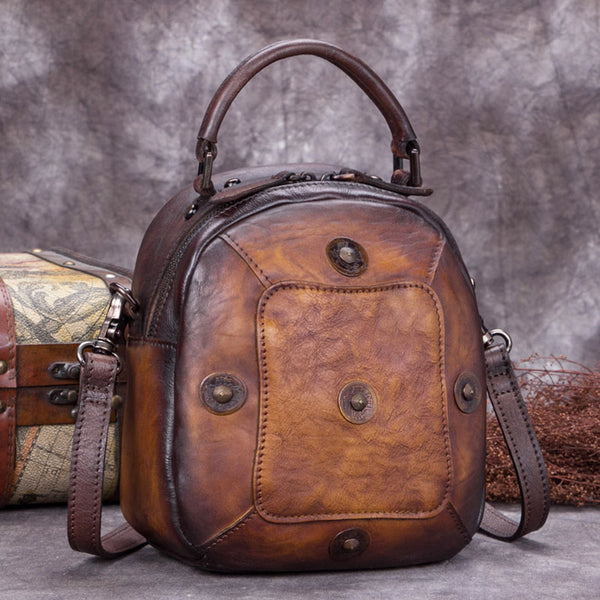 Handmade Vintage Genuine Leather Handbag Crossbody Shoulder Bags Purses Women Brown