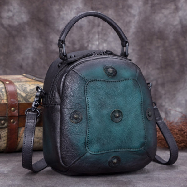 Handmade Vintage Genuine Leather Handbag Crossbody Shoulder Bags Purses Women Green