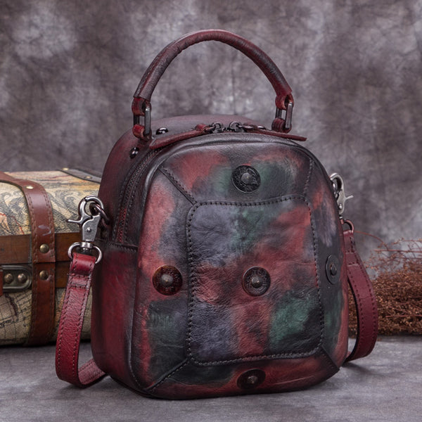 Handmade Vintage Genuine Leather Handbag Crossbody Shoulder Bags Purses Women Colored