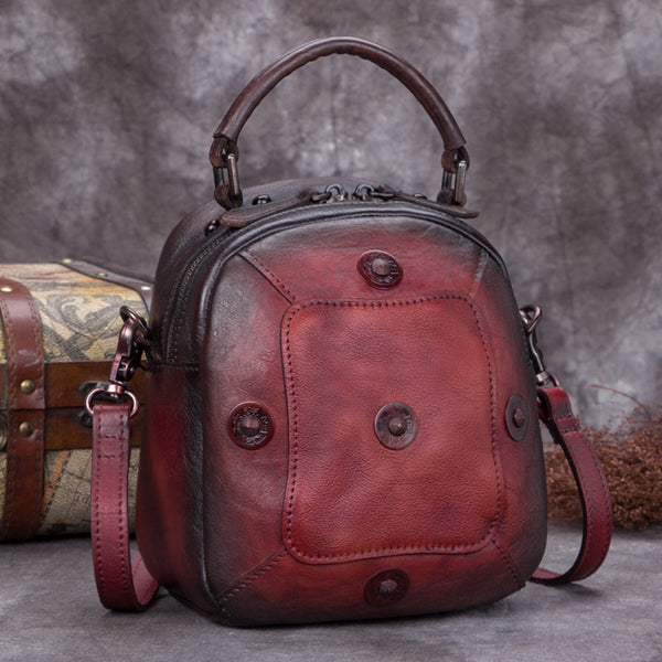 Handmade Vintage Genuine Leather Handbag Crossbody Shoulder Bags Purses Women Red