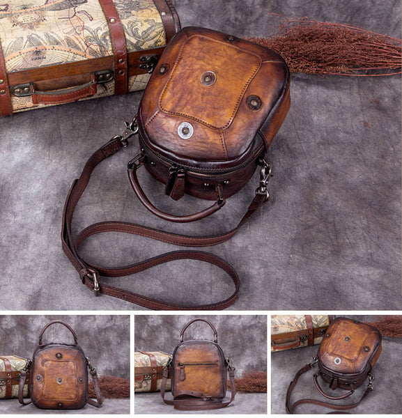 Handmade Vintage Genuine Leather Handbag Crossbody Shoulder Bags Purses Women nice