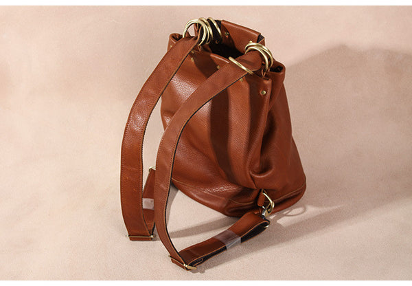 Handmade Vintage Womens Brown Leather Backpack Bag Purses Cool Backpacks for Women Durable