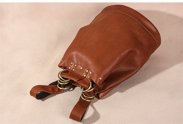 Handmade Vintage Womens Brown Leather Backpack Bag Purses Cool Backpacks for Women