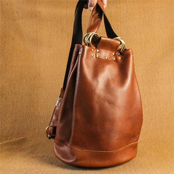 Handmade Vintage Womens Brown Leather Backpack Bag
