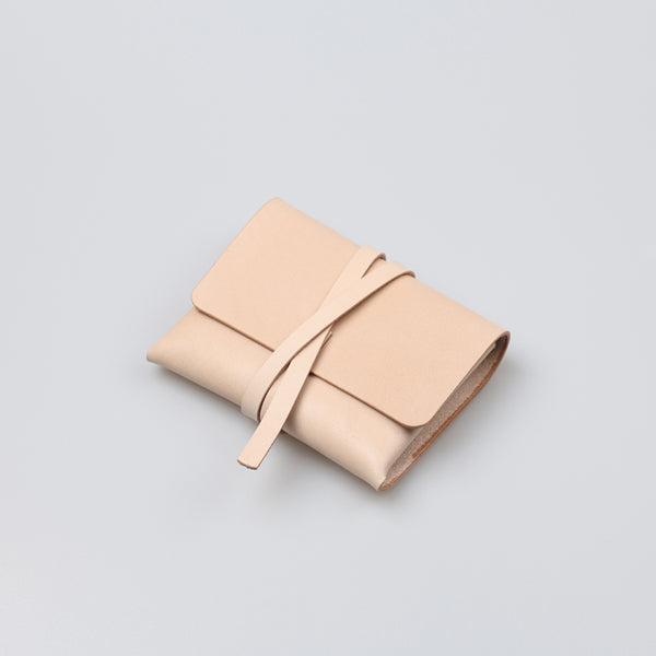 Handmade Womens Beige Small Leather Wallets Coin Purse for Women Details