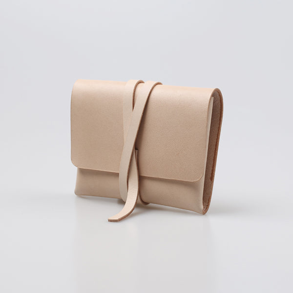 Handmade Womens Beige Small Leather Wallets Coin Purse for Women Genuine Leather