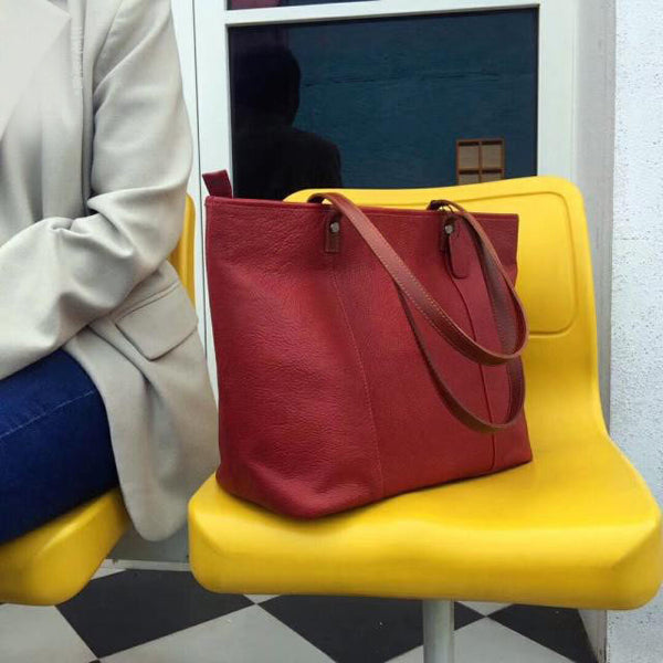 Handmade Womens Leather Tote Bags Purse With Zipper Closure Handbags For Women Cool