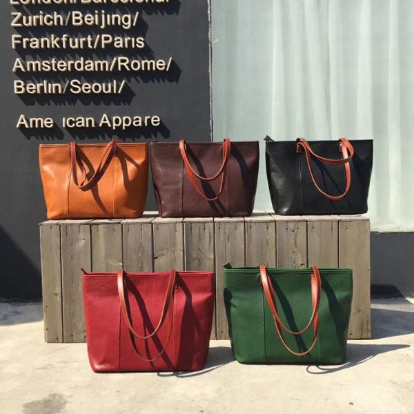 Handmade Womens Leather Tote Bags Purse With Zipper Closure Handbags For Women Best