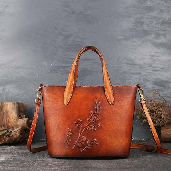 Handmade Womens Embossed Leather Tote Bag Shoulder Handbags For Women Accessories
