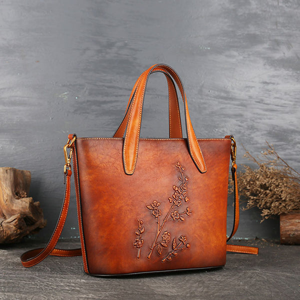 Handmade Womens Embossed Leather Tote Bag Shoulder Handbags For Women
