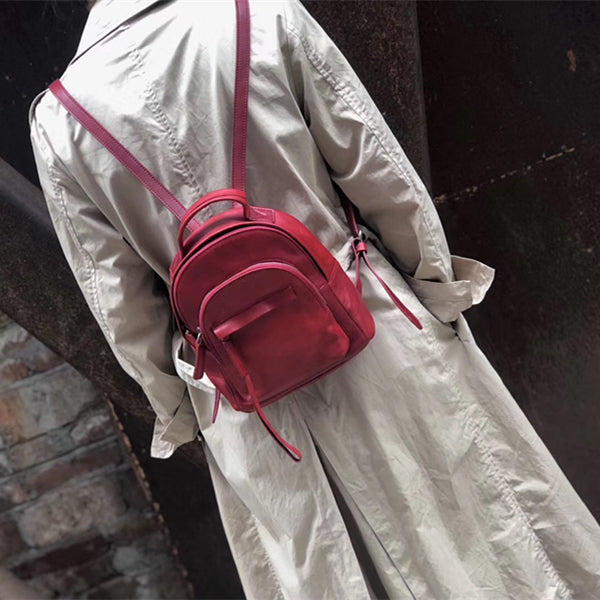 Handmade Womens Nice Leather Backpacks Small Rucksack Purse for Women Affordable