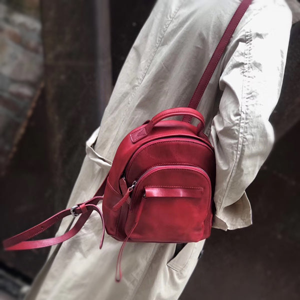 Handmade Womens Nice Leather Backpacks Small Rucksack Purse for Women Beautiful