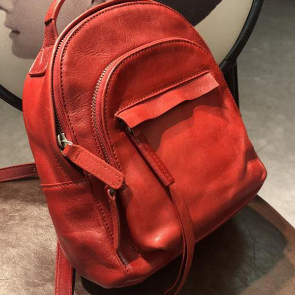 Handmade Womens Nice Leather Backpacks Small Rucksack Purse for Women Chic