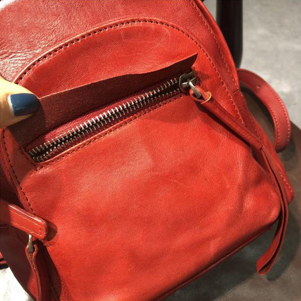Handmade Womens Nice Leather Backpacks Small Rucksack Purse for Women Cute