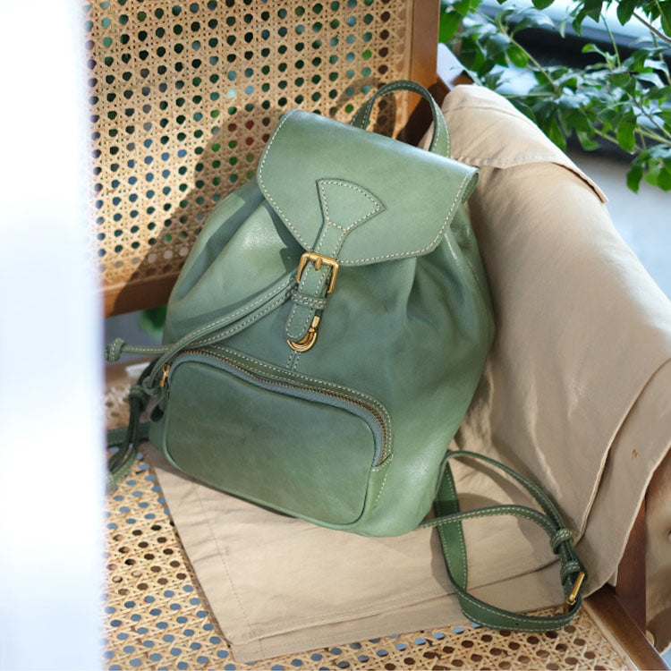 Handmade Womens Real Leather Flap Backpack Purse Leather Knapsack for Women Affordable