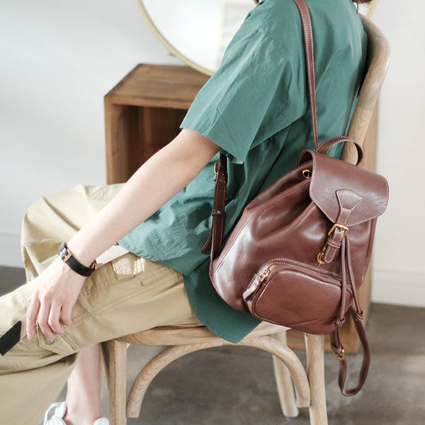 Handmade Womens Real Leather Flap Backpack Purse Leather Knapsack for Women Beautiful