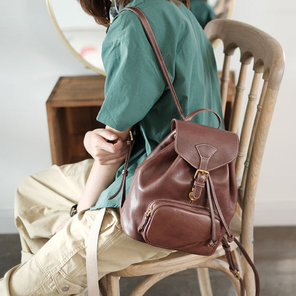 Handmade Womens Real Leather Flap Backpack Purse Leather Knapsack for Women Best