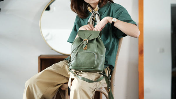 Handmade Womens Real Leather Flap Backpack Purse Leather Knapsack for Women Details