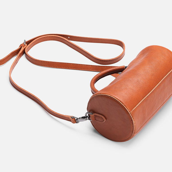 Handmade Womens Small Leather Barrel Bag Crossbody Bags Purses for Women Accessories