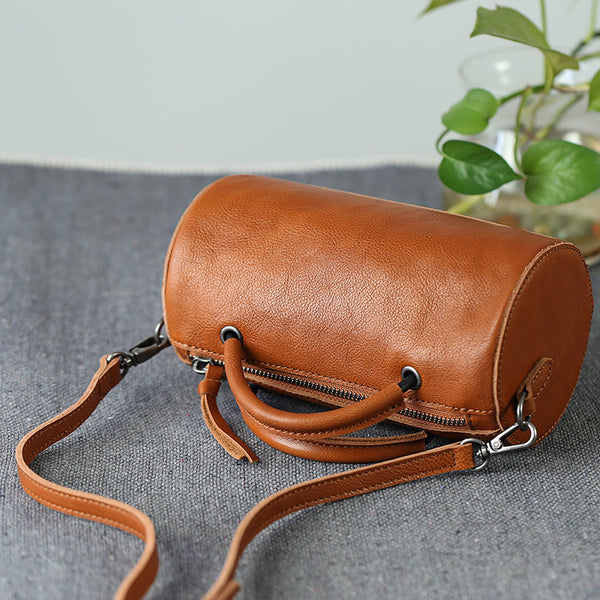 Handmade Womens Small Leather Barrel Bag Crossbody Bags Purses for Women Black