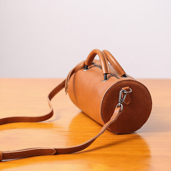 Handmade Womens Small Leather Barrel Bag Crossbody Bags Purses for Women Brown