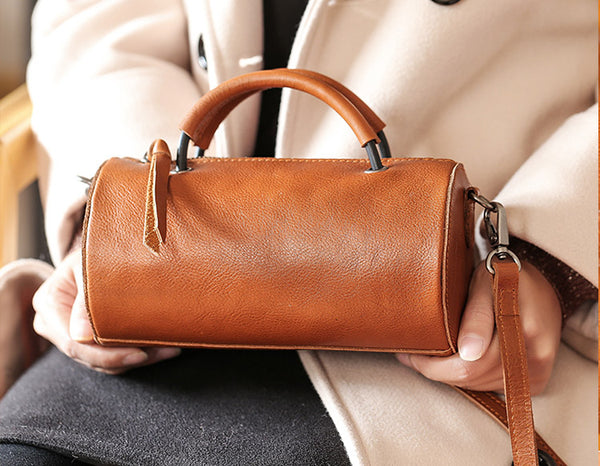Handmade Womens Small Leather Barrel Bag Crossbody Bags Purses for Women Designer
