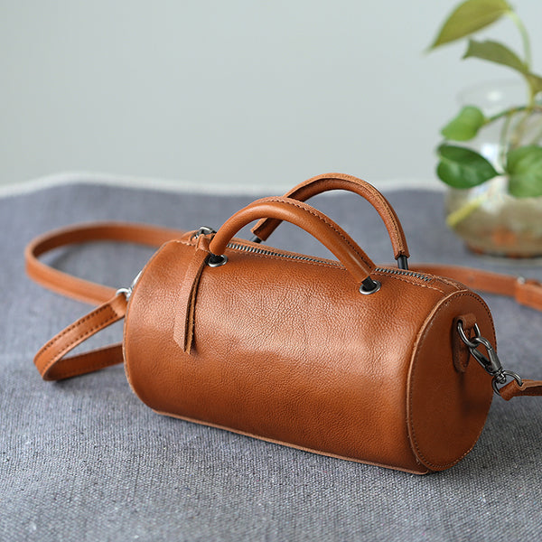 Handmade Womens Small Leather Barrel Bag Crossbody Bags Purses for Women beautiful