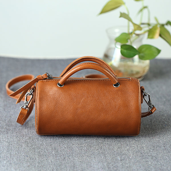 Handmade Womens Small Leather Barrel Bag Crossbody Bags Purses for Women best