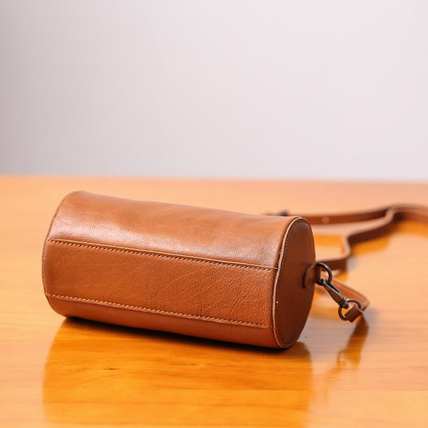 Handmade Womens Small Leather Barrel Bag Crossbody Bags Purses for Women cowhide