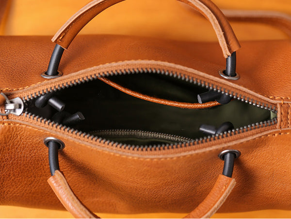 Handmade Womens Small Leather Barrel Bag Crossbody Bags Purses for Women cute