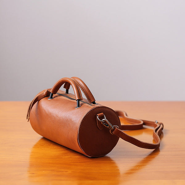 Handmade Womens Small Leather Barrel Bag Crossbody Bags Purses for Women fashion