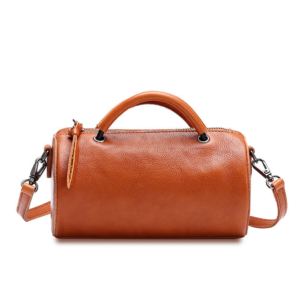Handmade Womens Small Leather Barrel Bag Crossbody Bags Purses for Women
