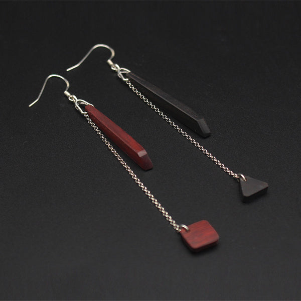 Handmade Wood and Sterling Silver Hook Dangle Earrings Unique Jewelry Accessories Gift for Women Men