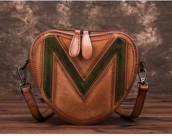 Heart Shaped Women Leather Crossbody Bags Purse Shoulder Bag for Women Handmade