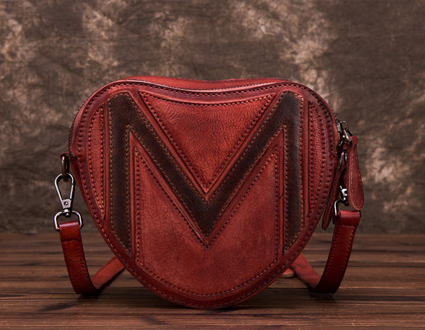 Heart Shaped Women Leather Crossbody Bags Purse Shoulder Bag for Women Unique 1